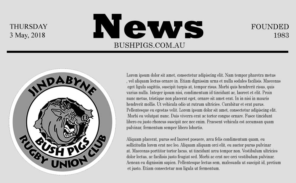 Bushpigs Newsletter 3 May 2018